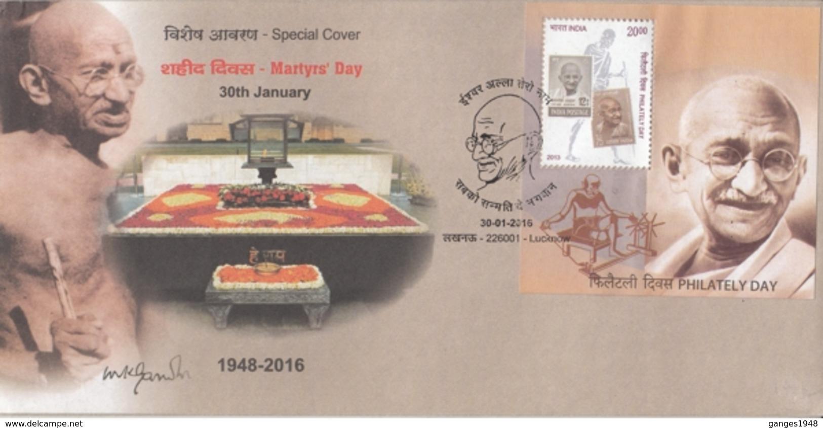 INDIA  2018  Mahatma Gandhi  Martyre's Day  Lucknow  Special Cover  # 20720  D Inde  Indien - Mahatma Gandhi