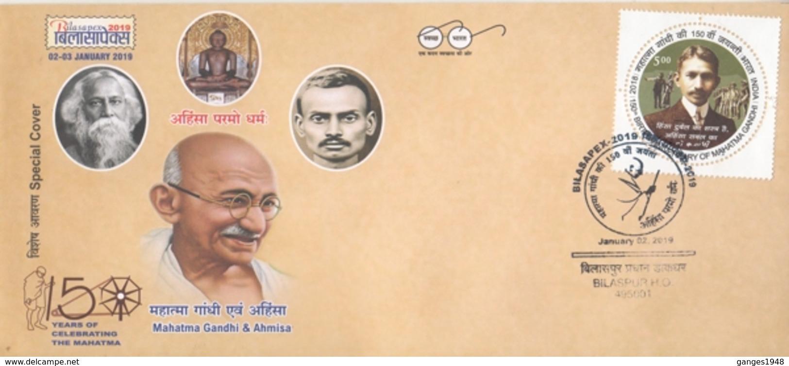 INDIA  2019  Mahatma Gandhi & Ahims  Jainism Idol  Rabindranath Tagore Special Cover  # 20717    D Inde  Indien - Mahatma Gandhi