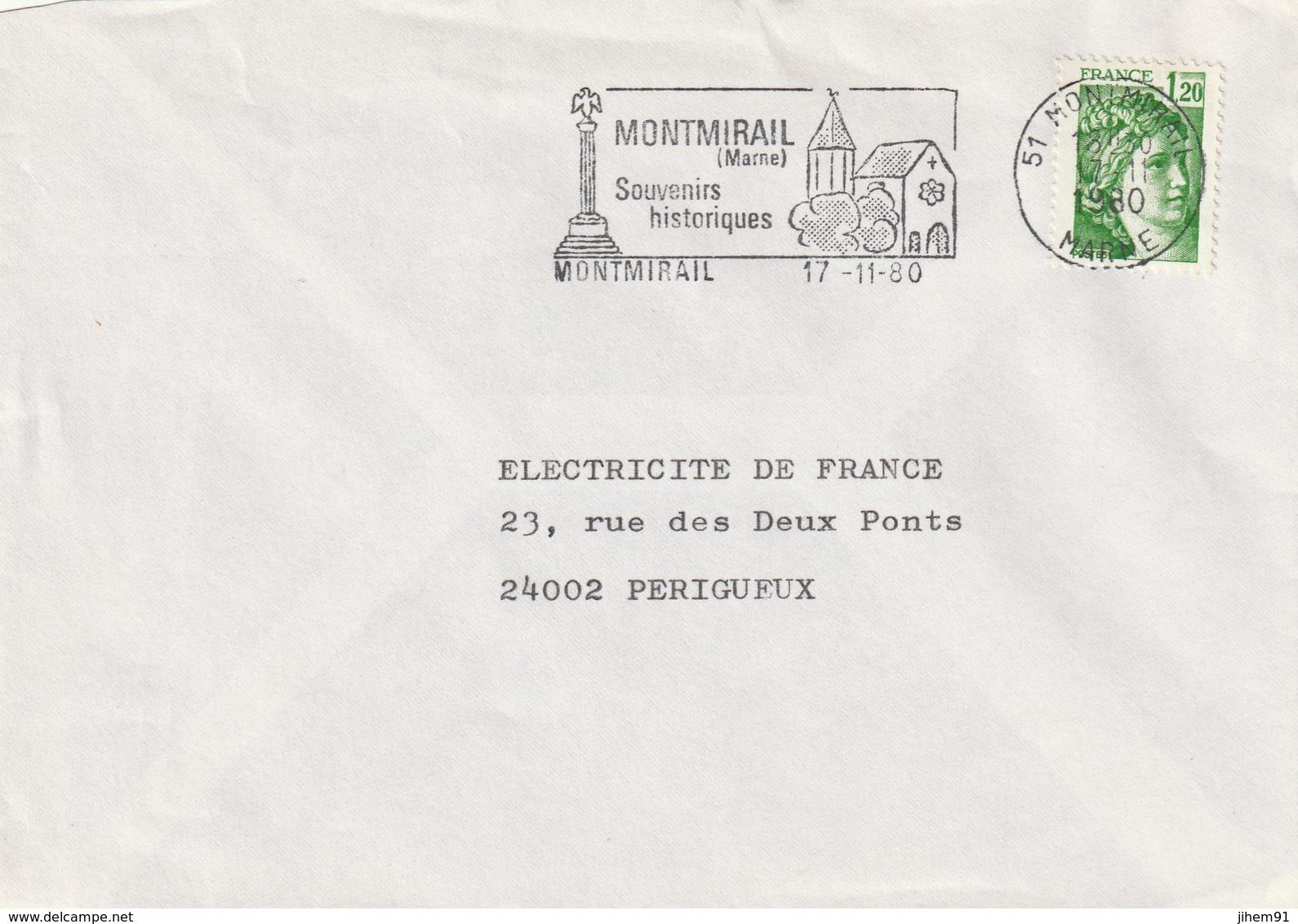 """Lettre De """"Montmirail"""" (Marne, 51) Du 17-11-1980, """"Souvenirs Historiques"""" - Monument, église (Sabine 1.20 Vert) - Marcophilie (Lettres)"""