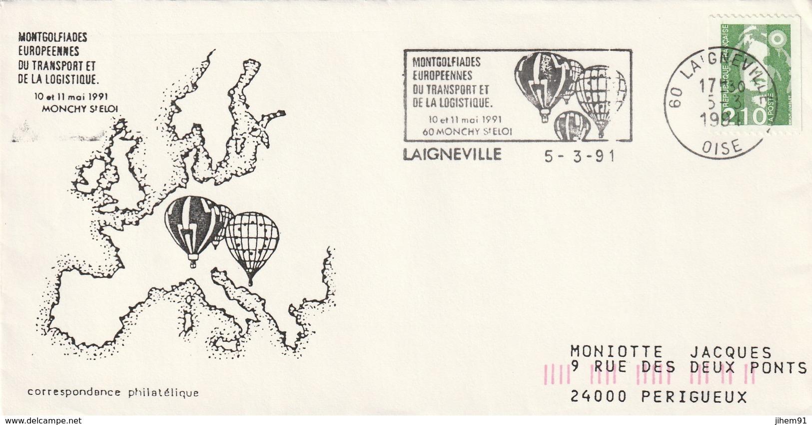 """Lettre De """"Laigneville"""" (Oise, 60) Du 05-03-1991, """"Montgolfiades Européennes"""" (Mongolfière) - Marianne Roulette - Marcophilie (Lettres)"""