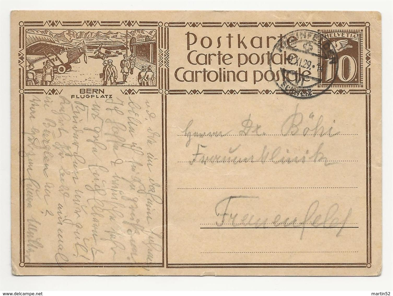 """Schweiz Suisse 1929: Bild-PK / CPI """"BERN FLUGPLATZ"""" Mit O RHEINFELDEN 2.XI.29 - Postwaardestukken"""