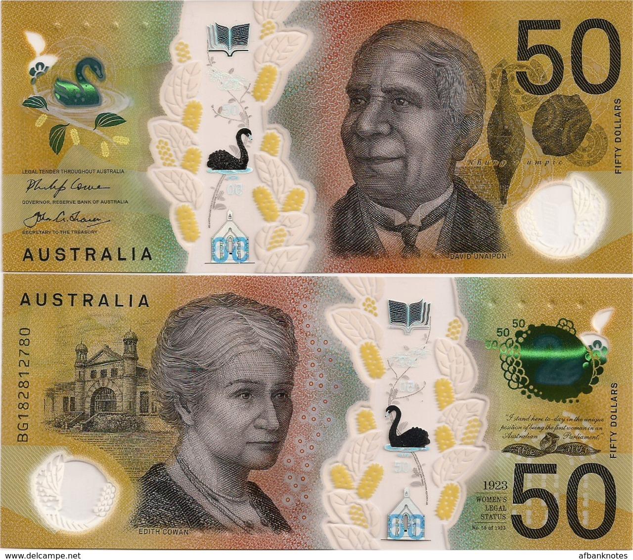 AUSTRALIA       50 Dollars       P-New       (20)18       UNC - Emissioni Governative Decimali 1966-...