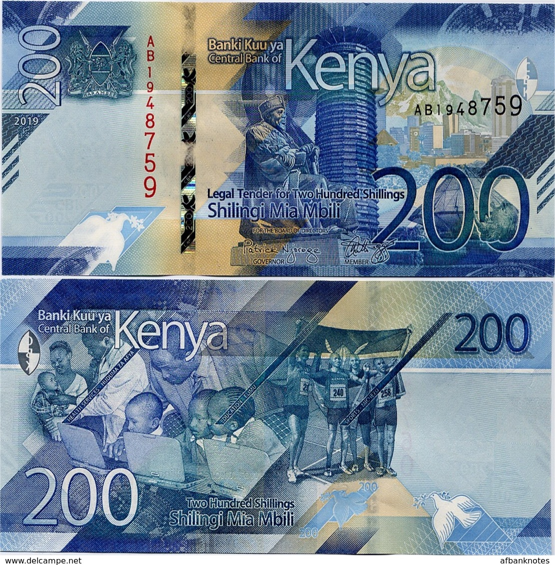 KENYA       200 Shilingi       P-New       2019       UNC - Kenya