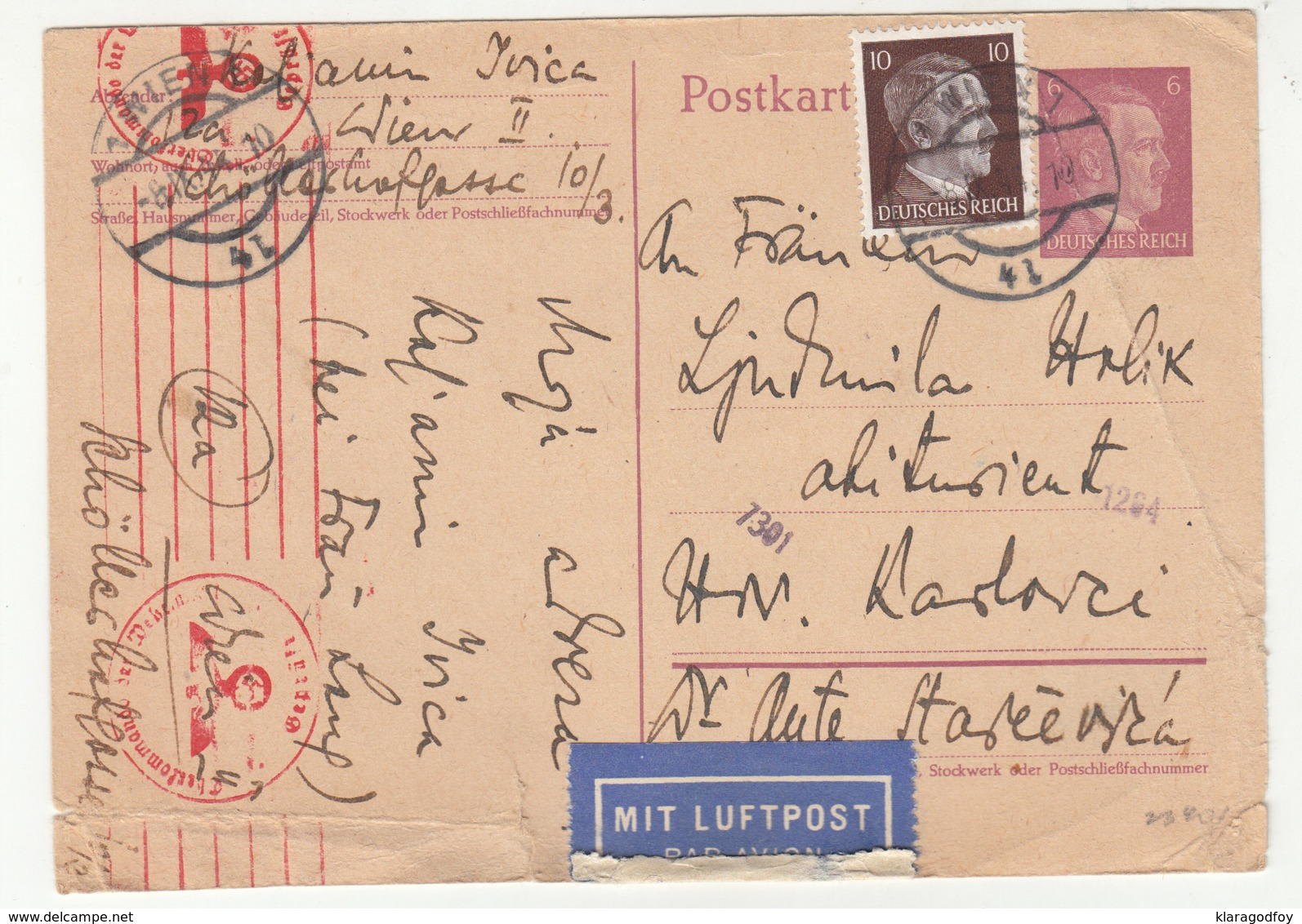 Germany Reich Postal Stationery Postcard Travelled 1944 Air Mail Wien To Hrvatski Karlovci Censored B190720 - Deutschland