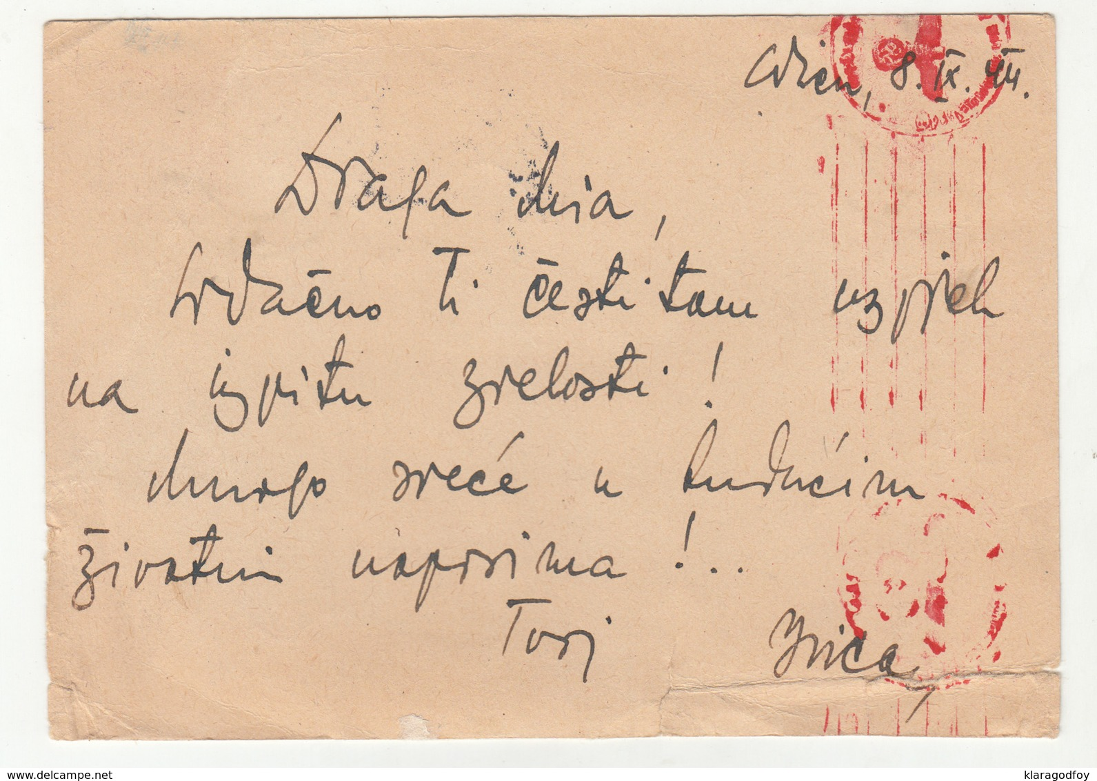 Germany Reich Postal Stationery Postcard Travelled 1944 Air Mail Wien To Hrvatski Karlovci Censored B190720 - Ganzsachen