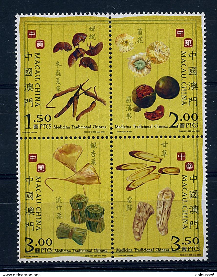 Macao ** N° 1150 à 1153 Formant Bloc - Plantes Médicinales - 1999-... Chinese Admnistrative Region