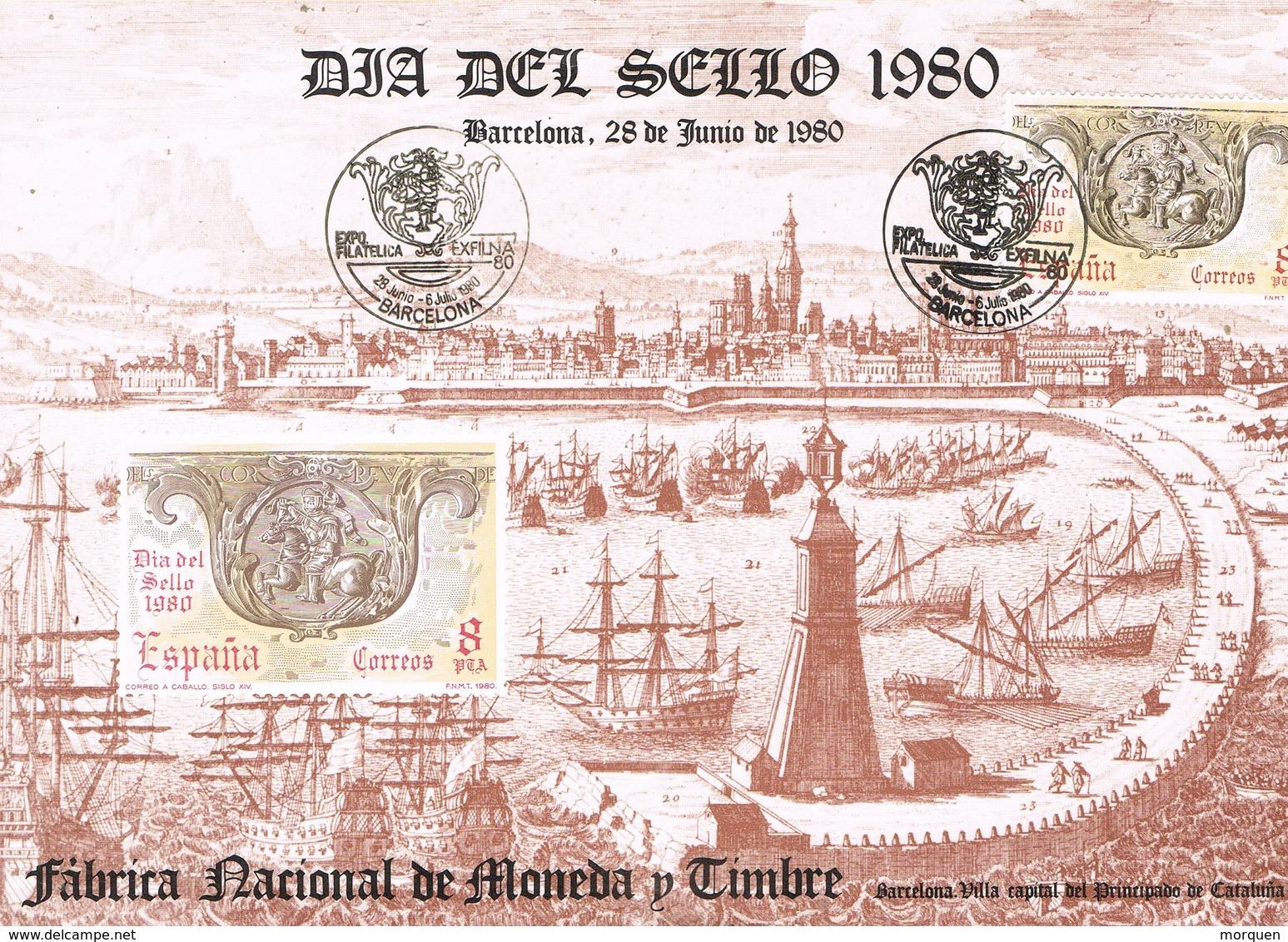 33553. Tarjeta Exposicion BARCELONA 1980. Dia Del Sello, EXFILNA 80 Barcelona - 1931-Hoy: 2ª República - ... Juan Carlos I