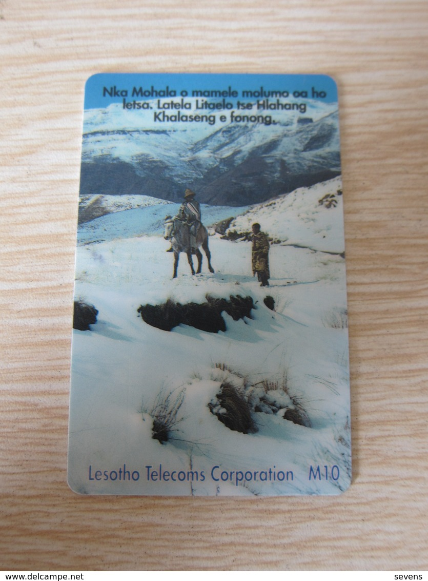 Frist Issued Chip Phonecard,Telecom Station And Landscape,used - Lesotho