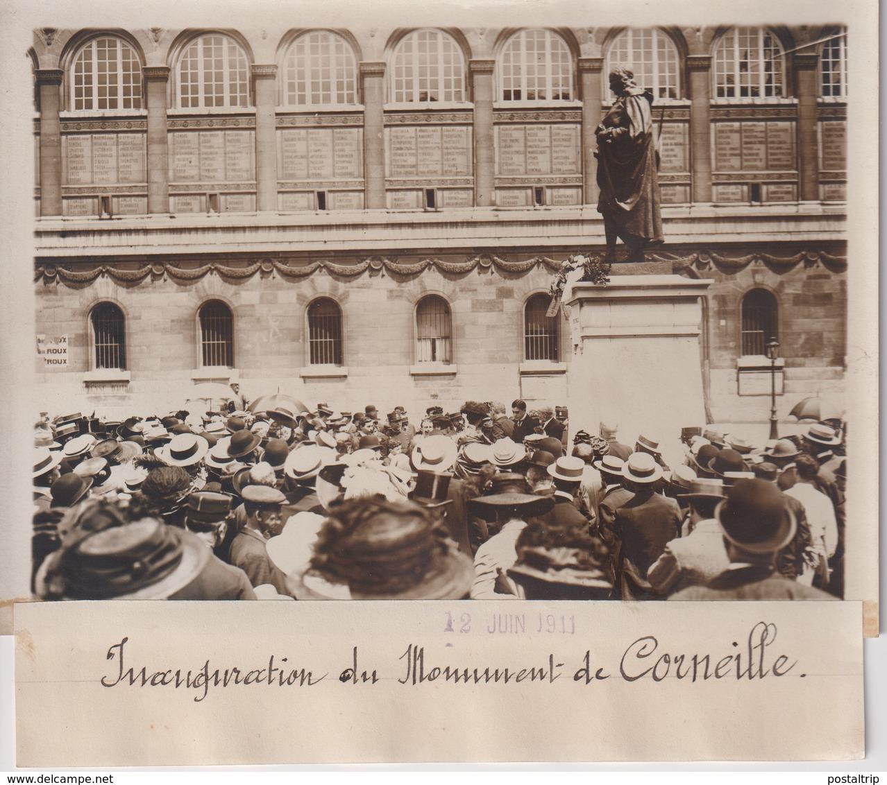 INAUGURATION DU MONUMENT DE CORNEILLE    18*13CM Maurice-Louis BRANGER PARÍS (1874-1950) - Lieux