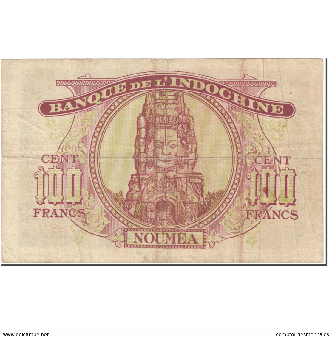 Billet, Nouvelle-Calédonie, 100 Francs, 1942, Undated (1942), KM:44, TB - Nouméa (New Caledonia 1873-1985)