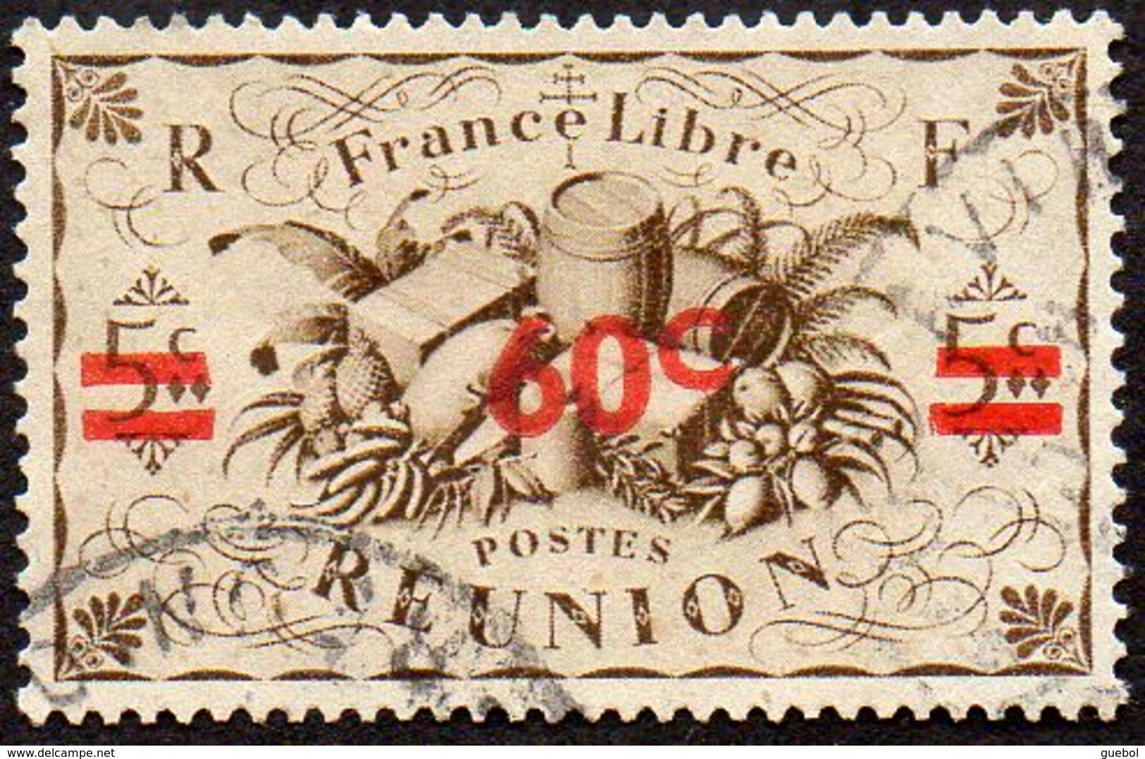 Réunion Obl. N° 253 - Détail De La Série De LONDRES Surchargé En 1945 - Productions - 60cts Sur 5 C Sépia - Oblitérés