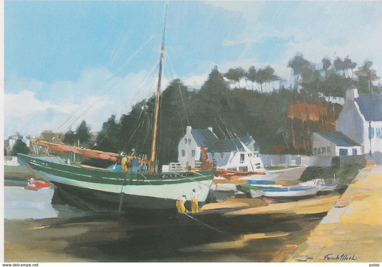 """Bu - CPM Le """"Cap Sizun"""" En Carénage - Peinture De Fanch Moal - Galerie L'Atelier à Brest (format 12 X 17 Cm) - Beuzec-Cap-Sizun"""