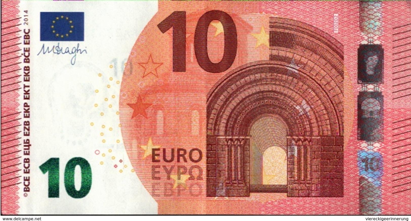 ! 10 Euro F002D2, FA2233311975, Money, Geldschein, Currency, Banknote, Billet Mario Draghi, EZB, Europäische Zentralbank - 10 Euro