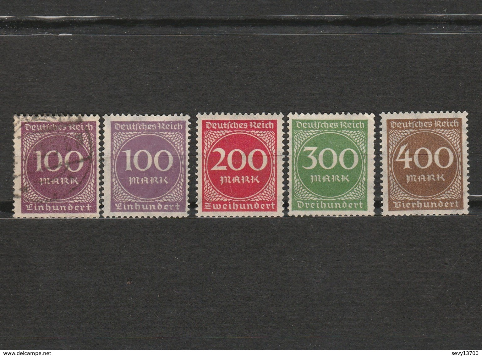 Lot 5 Timbres Chiffre Allemagne Deutsches Reich Année 1923 200  400 Neuf - 100 Et 300 Sans Gomme Mi 268 - 269 - 270 -271 - Gebraucht
