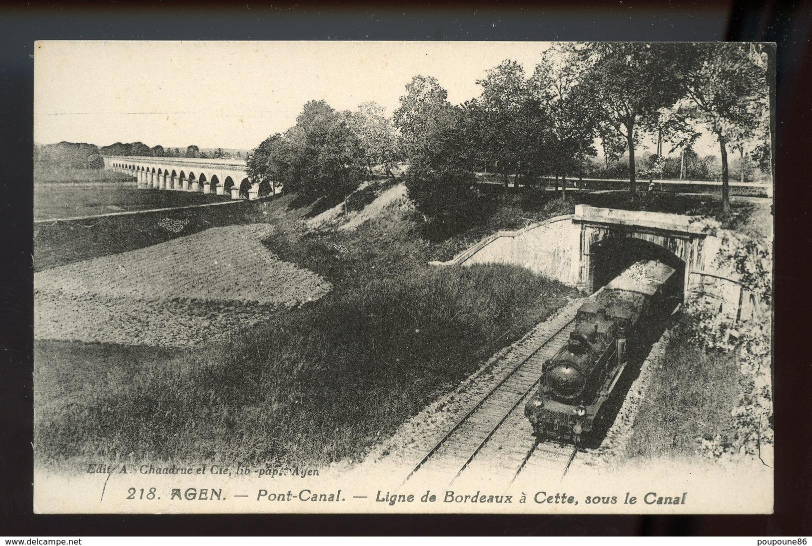 47 CPA  AGEN - PONT-CANAL - LIGNE BORDEAUX A CETTE, SOUS LE CANAL - TRAIN - Agen