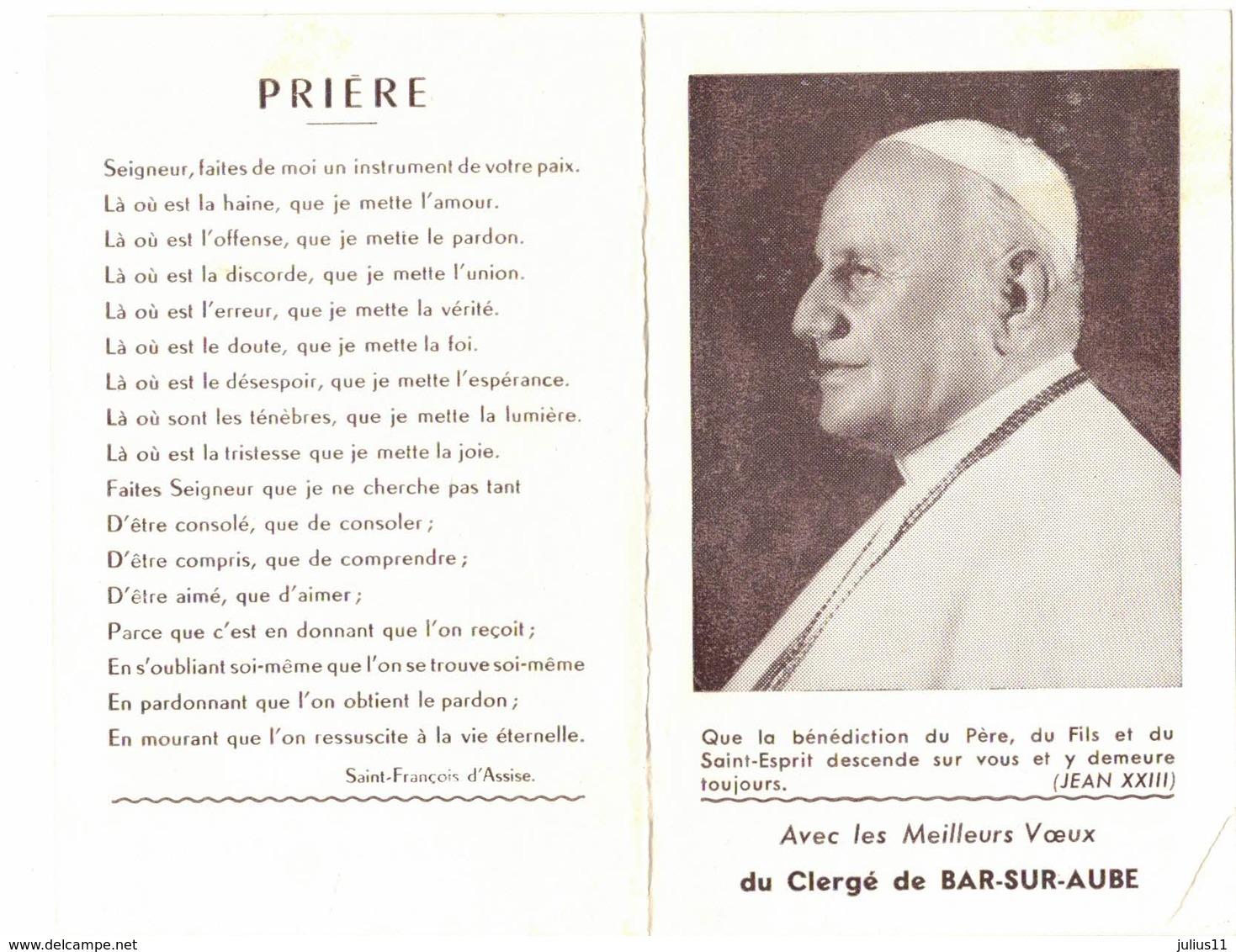 TROYES CALENDRIER ALMANACH 1961 JEAN XXIII BAR SUR AUBE IMAGE PIEUSE RELIGIEUSE HOLY CARD SANTINI HEILIG PRENTJE - Calendriers