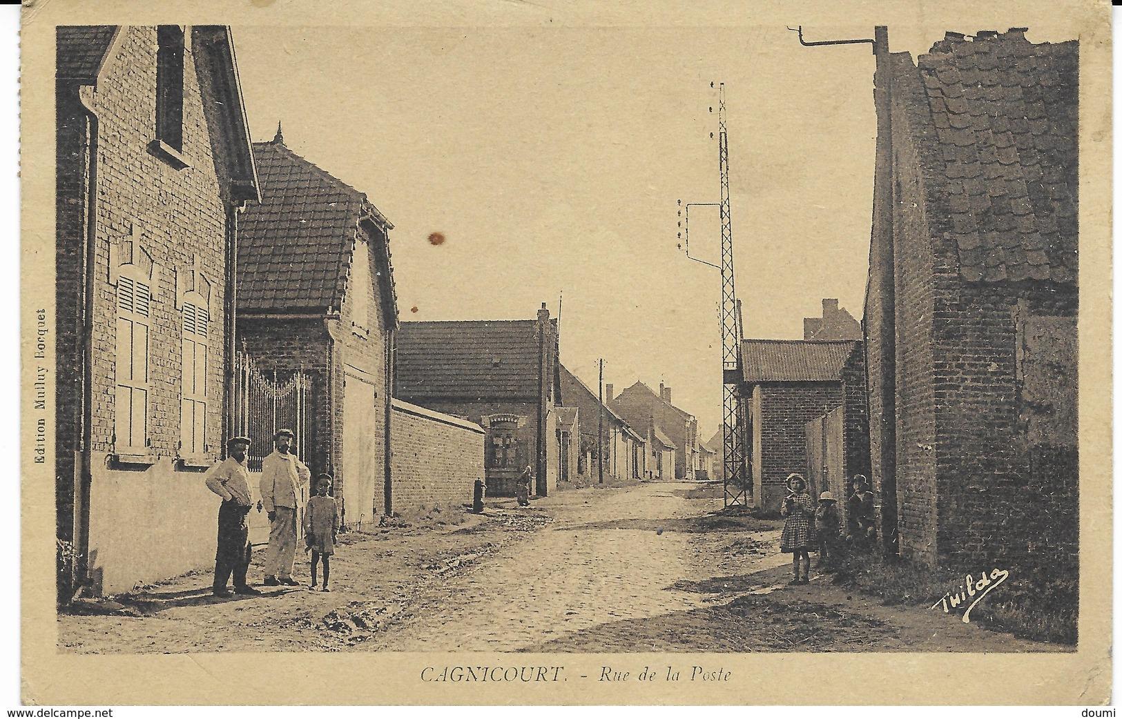 62 CAGNICOURT  Rue De La Poste  CPA écrite En 1946 - Francia