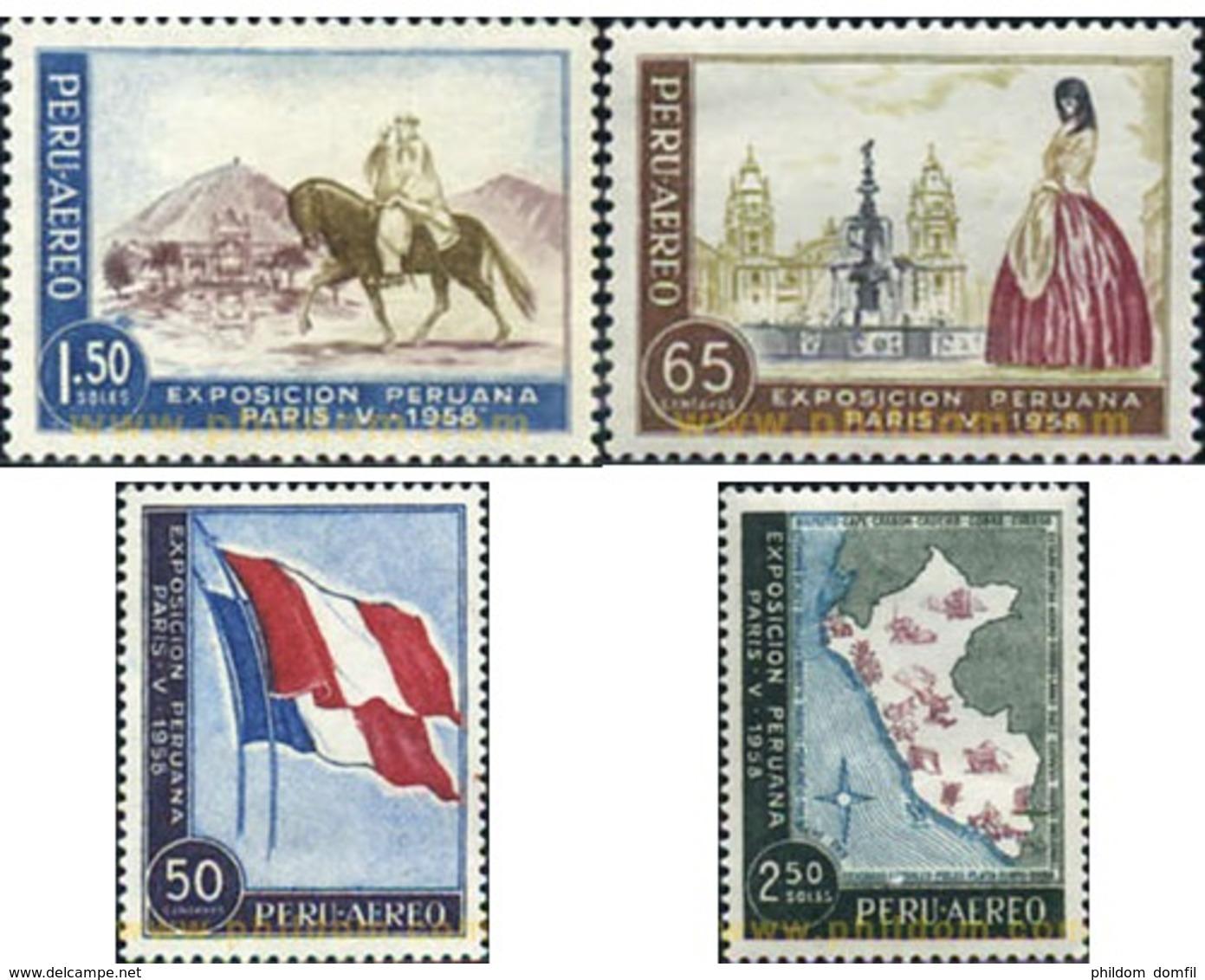 Ref. 30260 * MNH * - PERU. 1958. EXPOSICION PERUANA DE PARIS. - Perù