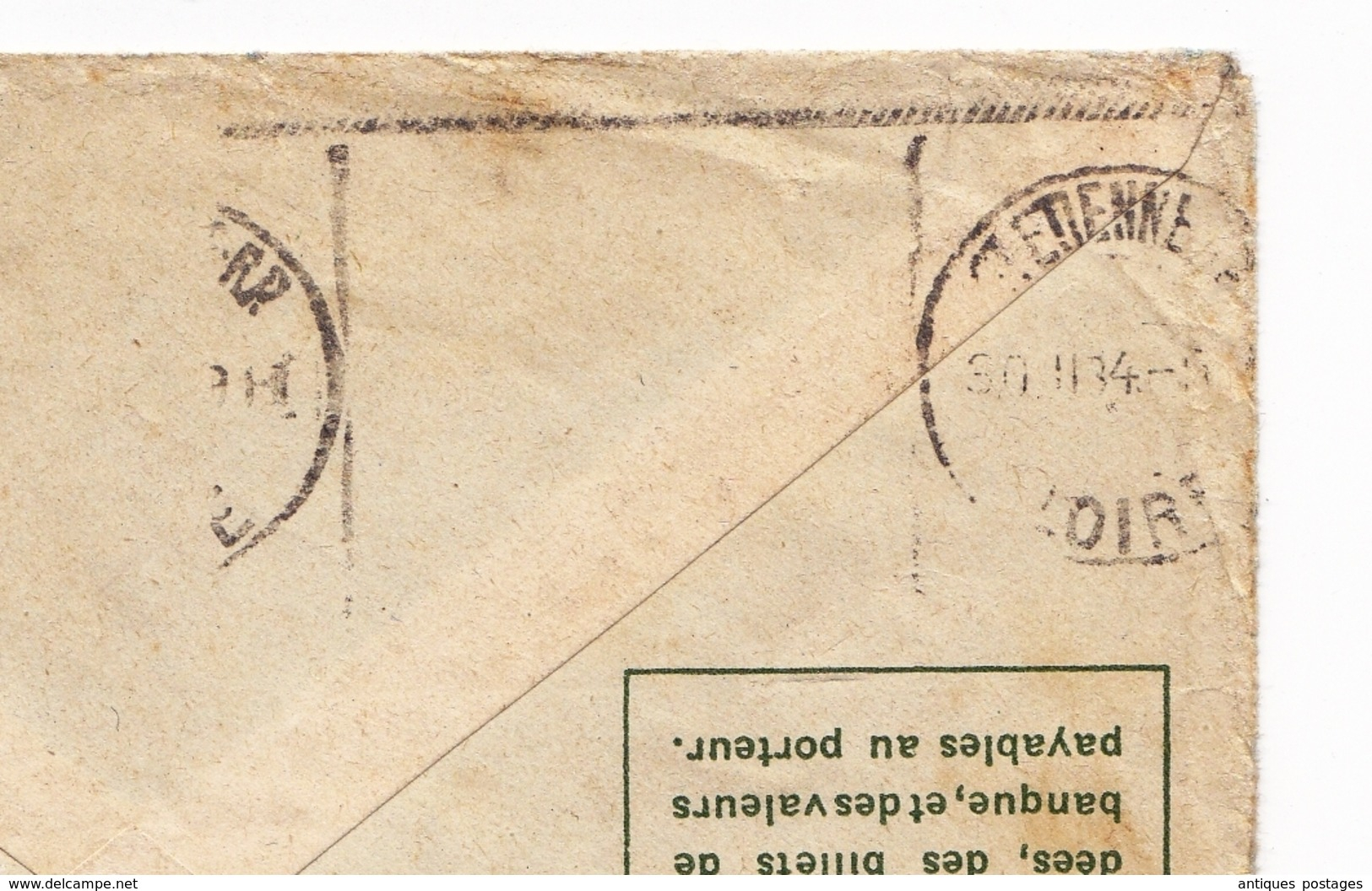 Entier Postal 1934 Tananarive Antananarivo Rue Gallieni Madagascar T.S.F. Saint Etienne Loire - Madagascar (1889-1960)