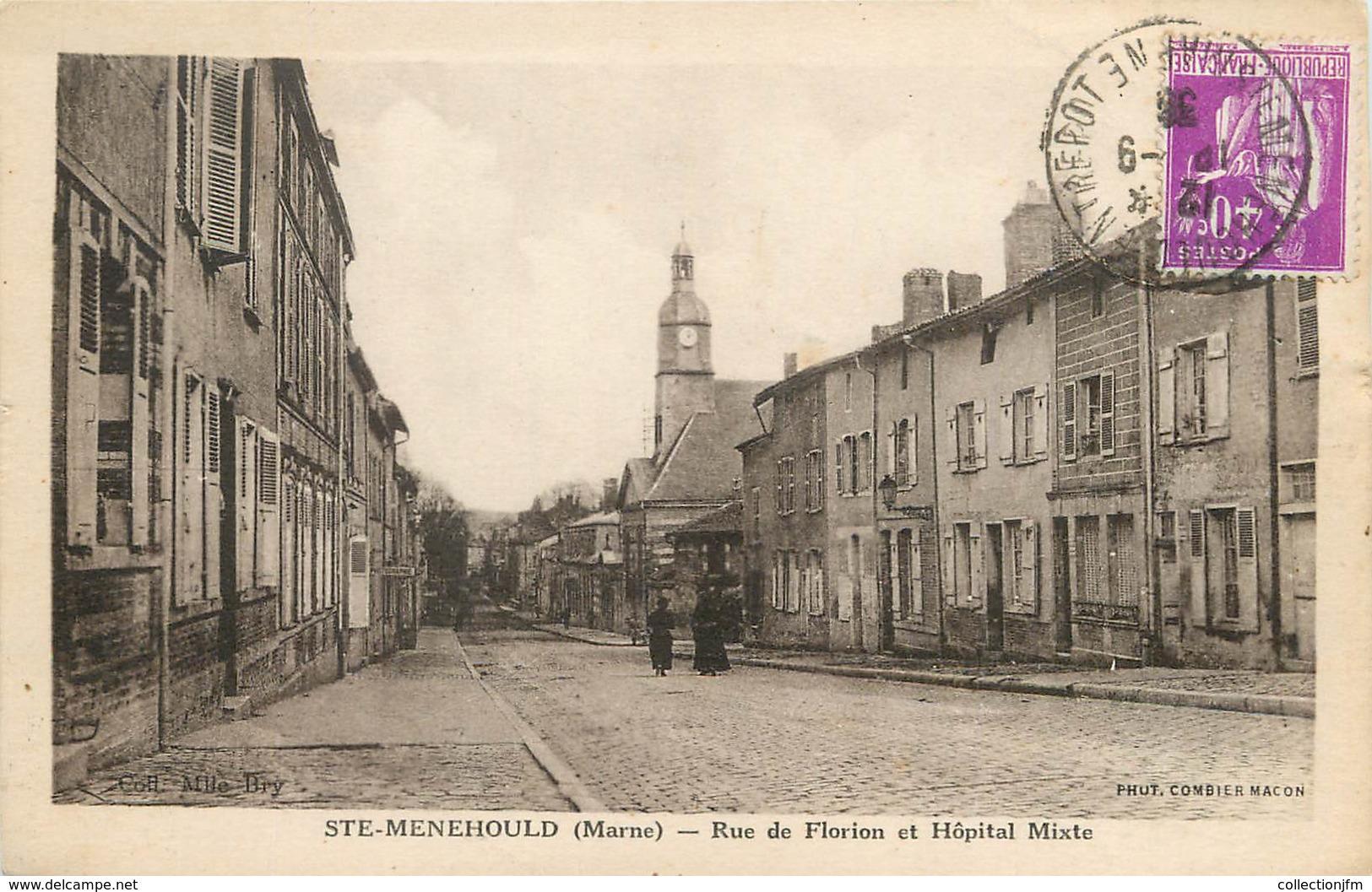 """/ CPA FRANCE 51 """"Sainte Menehould, Rue De Florion Et Hôpital Mixte"""" - Sainte-Menehould"""