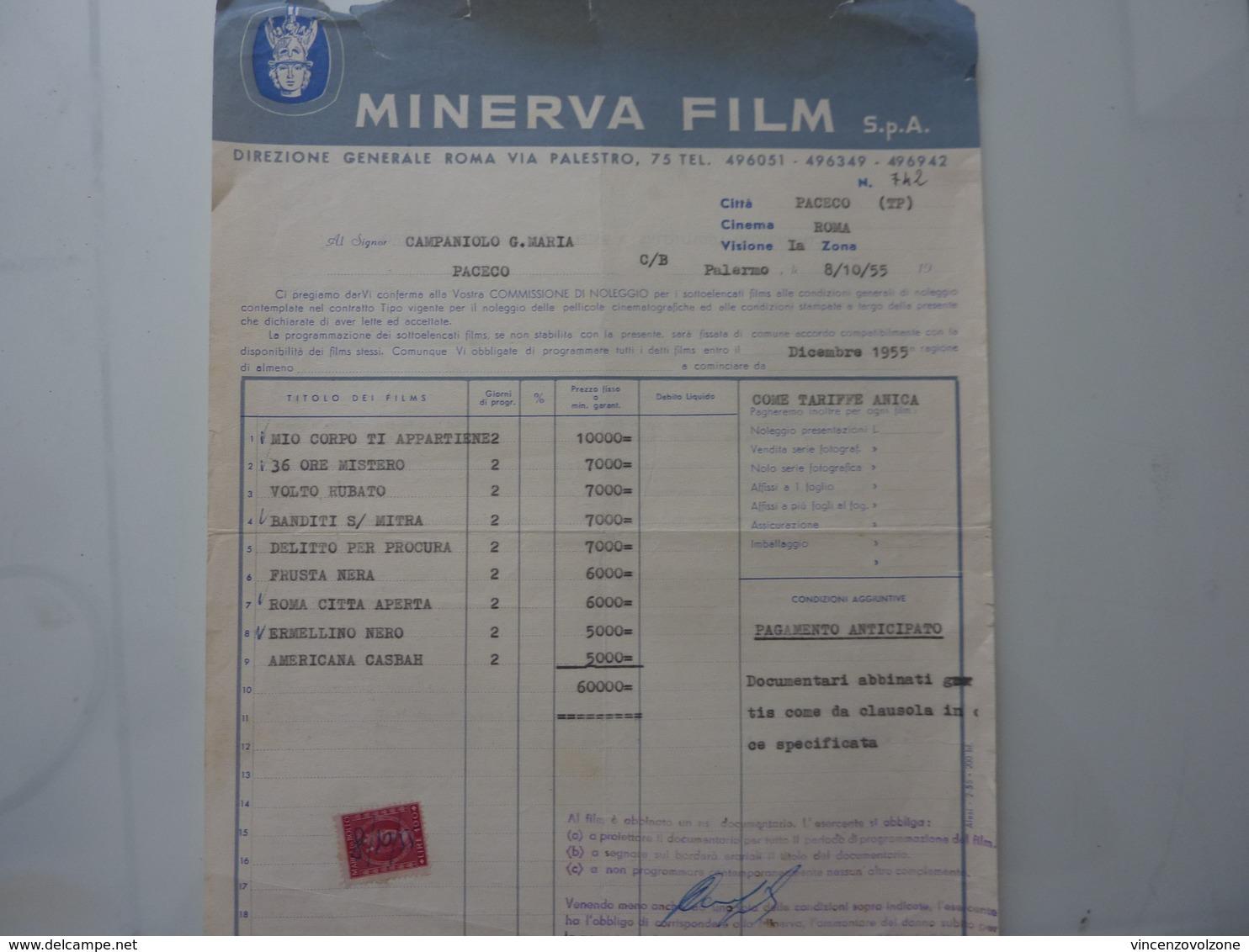 """Fattura  """"MINERVA FILM S.p.A ROMA"""" 1955 - Italia"""