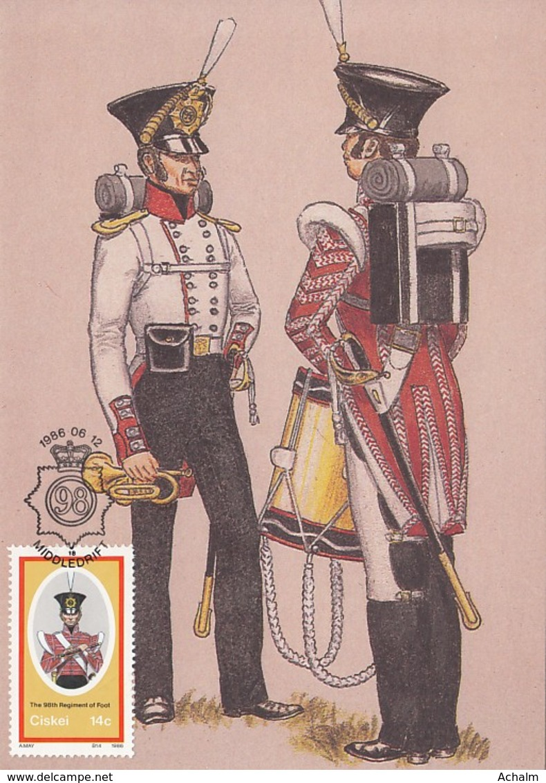Ciskei - Maximum Card Of 1986 - MiNr. 98 - Military Uniforms - The 98te Regiment Of Foot - Ciskei