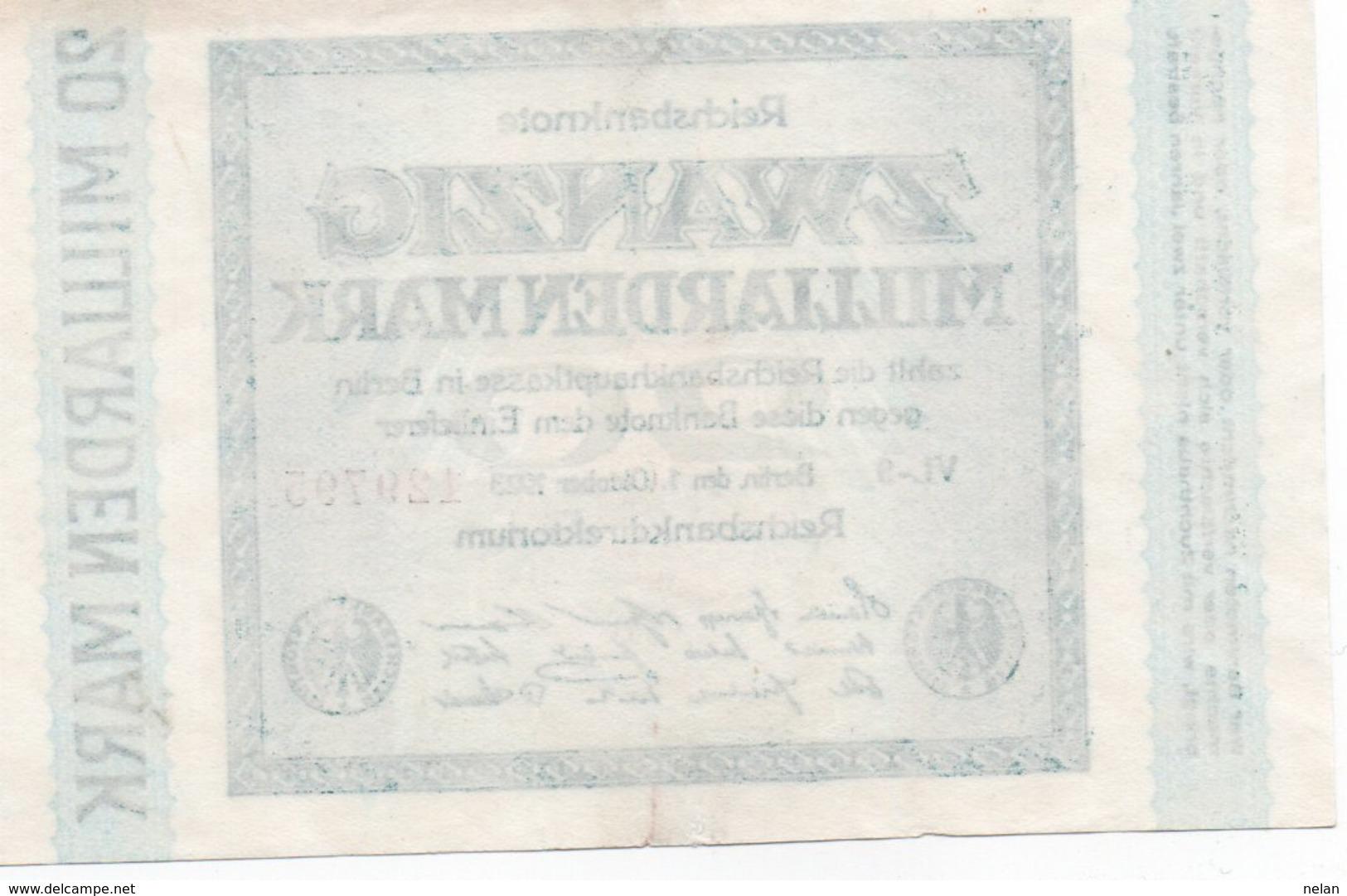 GERMANY20 MILLIARDEN MARK-1923   XF UNIFACE - [ 3] 1918-1933 : Repubblica  Di Weimar