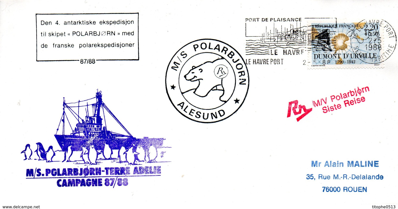 FRANCE. Enveloppe Commémorative De 1988. Polar Björn En Terre Adélie. - Französische Süd- Und Antarktisgebiete (TAAF)