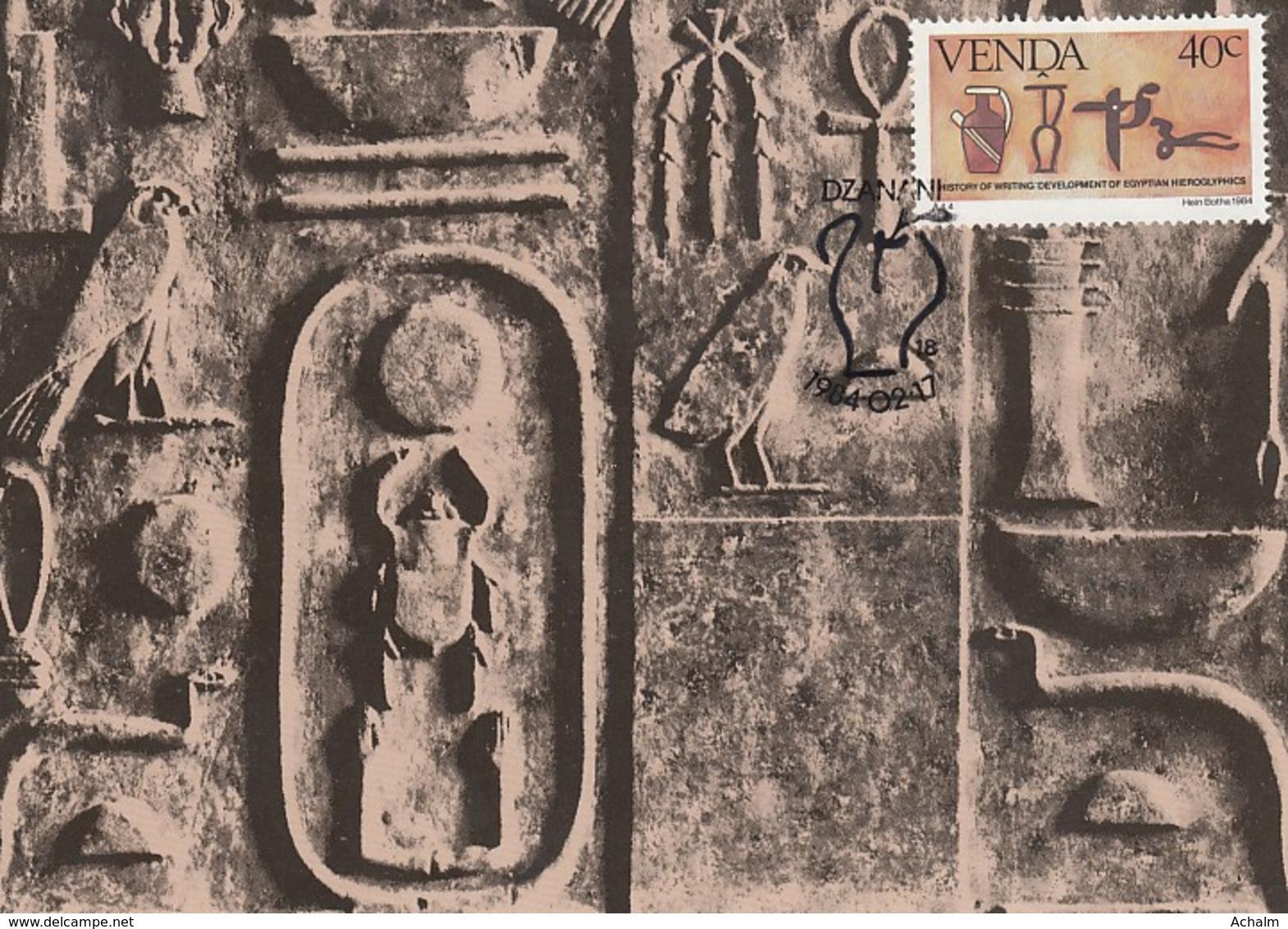 Venda - Maximum Card Of 1984 - MiNr. 89 - History Of The Writing - Egyptian Hieroglyphs - Venda