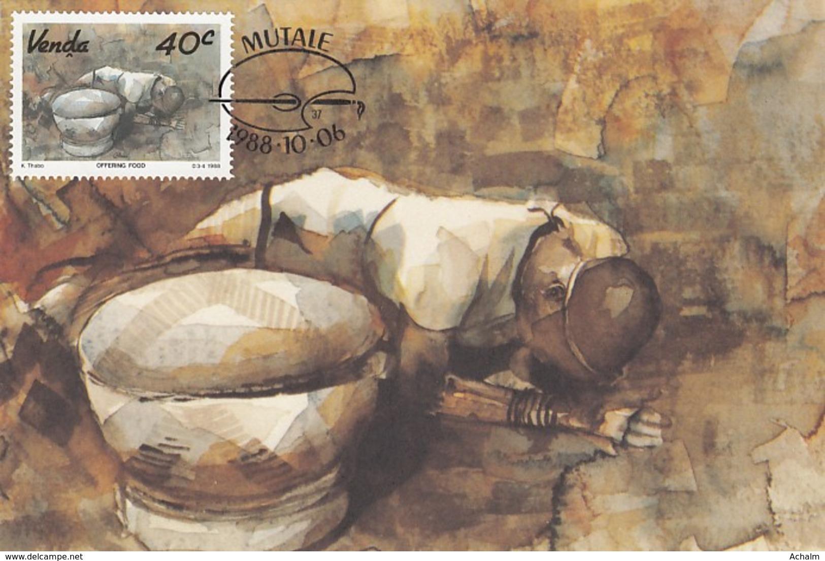 Venda - Maximum Card Of 1988 - MiNr. 181 - Local Art - Offering Food - Venda