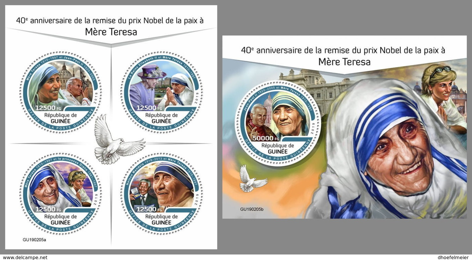 GUINEA REP. 2019 MNH Mother Teresa Pope Jon Paul II. Lady Diana M/S+S/S - IMPERFORATED - DH1929 - Mother Teresa