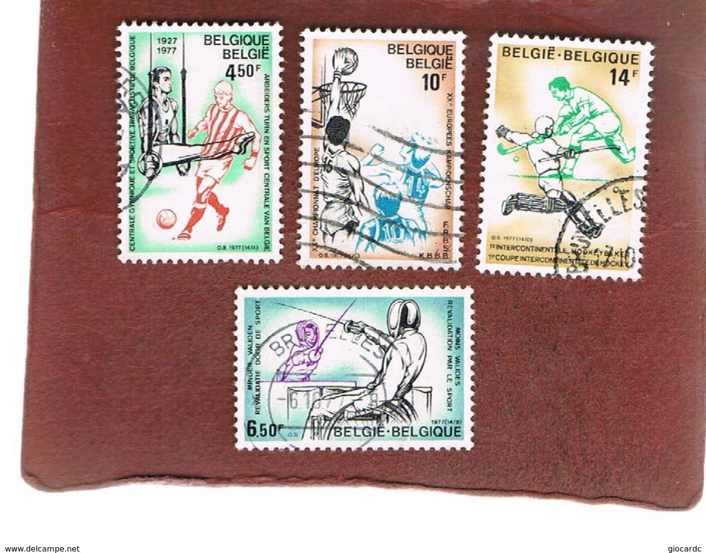 BELGIO (BELGIUM)   - SG 2500.2503  - 1977  SPORTS EVENTS (COMPLET SET OF 4) - USED - Belgio