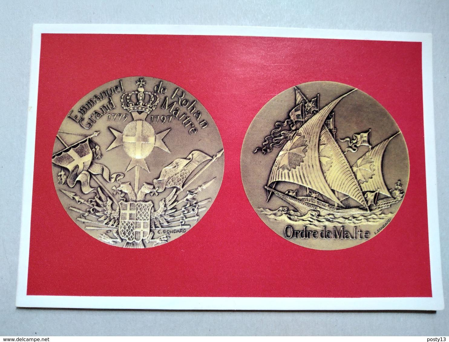 Carte Double  Médaille  Grand Maître E. De Rohan- Pouldu - Ordre De Malte - TBE - Monnaies (représentations)