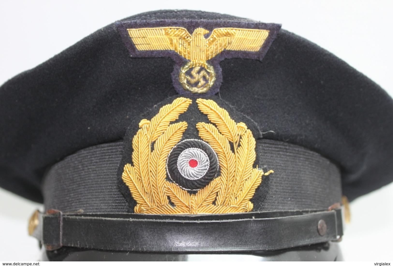 Casquettes Kriegsmarine Schirmmütze - Militaria Allemand WW2 39/45 - Marine Allemande - U-Boat - Divise