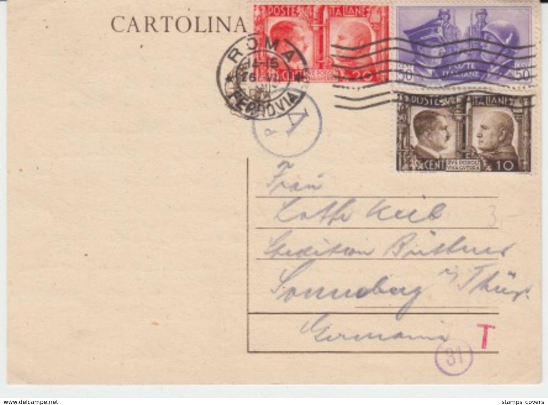 USED CARTE POSTALE 27/07/1941 ROMA FERROVIA - 1900-44 Vittorio Emanuele III