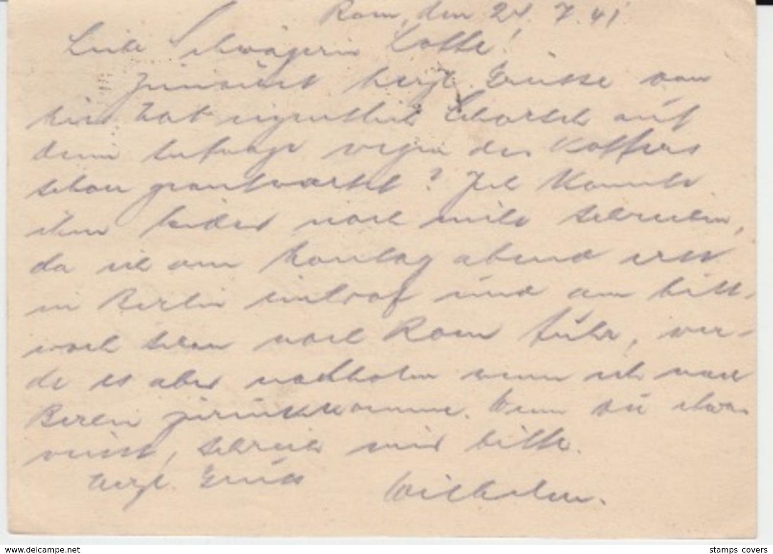 USED CARTE POSTALE 27/07/1941 ROMA FERROVIA - Paketmarken