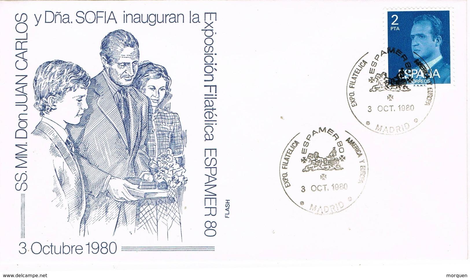 33580. Carta Exposicion MADRID 1980. ESPAMER 80. Visita Reyes España - 1931-Hoy: 2ª República - ... Juan Carlos I
