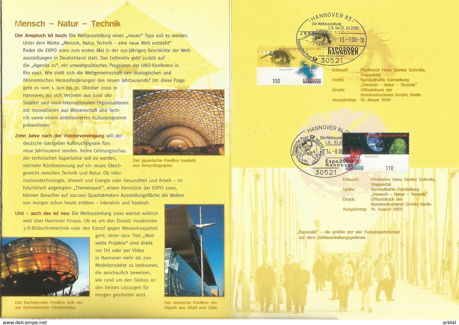 ALEMANIA DOCUMENTO HANNOVER 200O EXPOSICION UNIVERSAL - 2000 – Hanover (Germany)