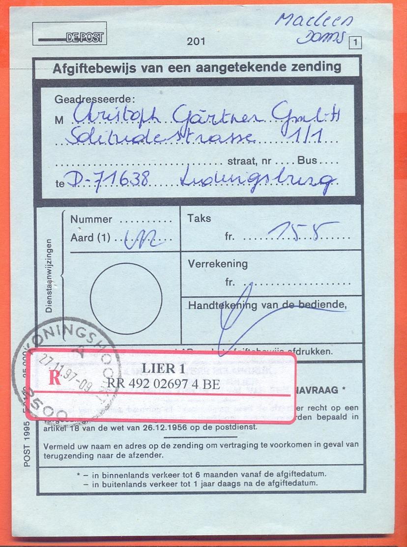 Belgie Belgique Belgium  1997 Cancel Koningshooikt LIER 1  Registered Mail Paper - Belgium