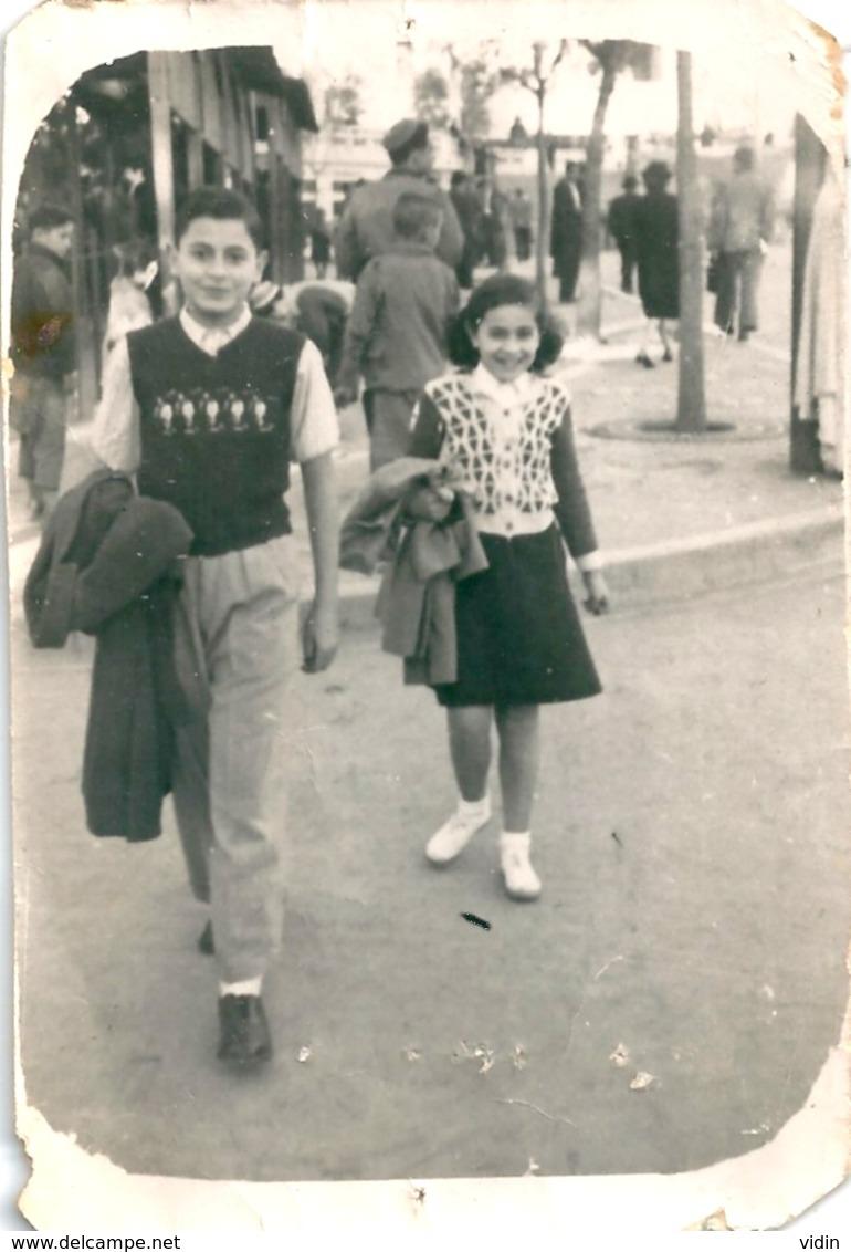 Photo Originale Enfants à Constantine 1947 - Personnes Anonymes