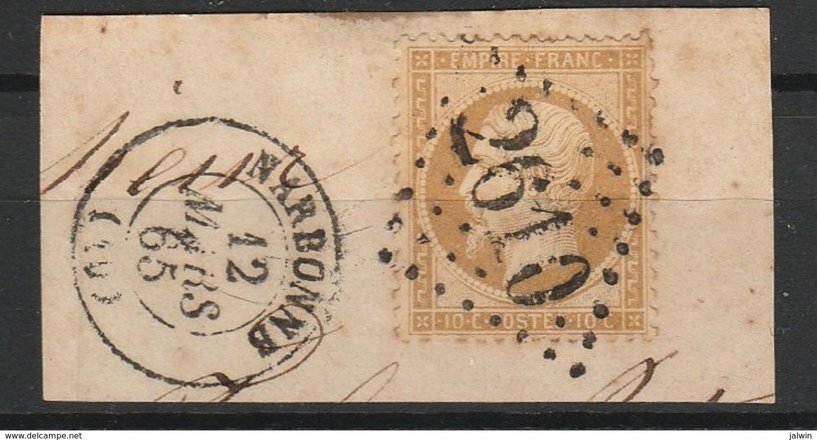 FRANCE NAPOLEON III 1862 YT N° 21 Obl. LOSANGE GC 2610 AVEC CACHET NARBONNE - 1862 Napoléon III
