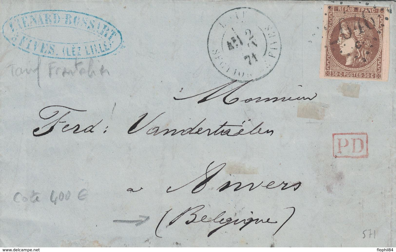 NORD - LILLE - SECTION DE FIVES - CERES DE BORDEAUX - 30c BRUN N°47 OBLITERATION GC2046 C - TARIF FRONTALIER POUR LA BEL - 1849-1876: Classic Period
