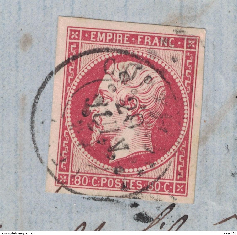 GIRONDE - LIBOURNE POUR COUTRAS - EMPIRE N°17A 80c OBLIERATION CACHET A DATE DE COUTRAS EN ARRIVEE - LETTRE DU 28-6-59 - Postmark Collection (Covers)
