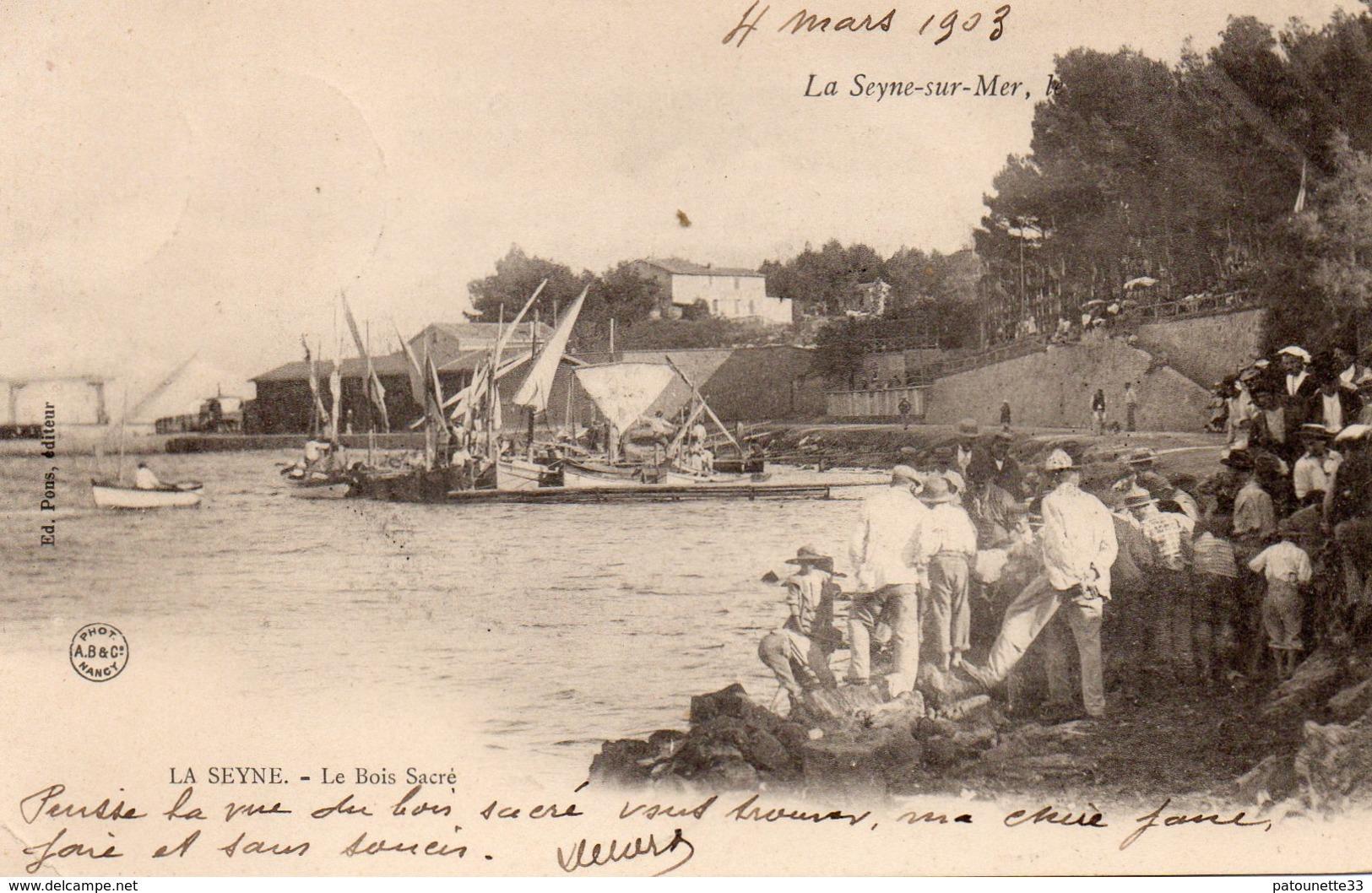 83 LA SEYNE LE BOIS SACRE BELLE ANIMATION BATEAUX RARE CARTE PRECURSEUR CLICHE UNIQUE - La Seyne-sur-Mer