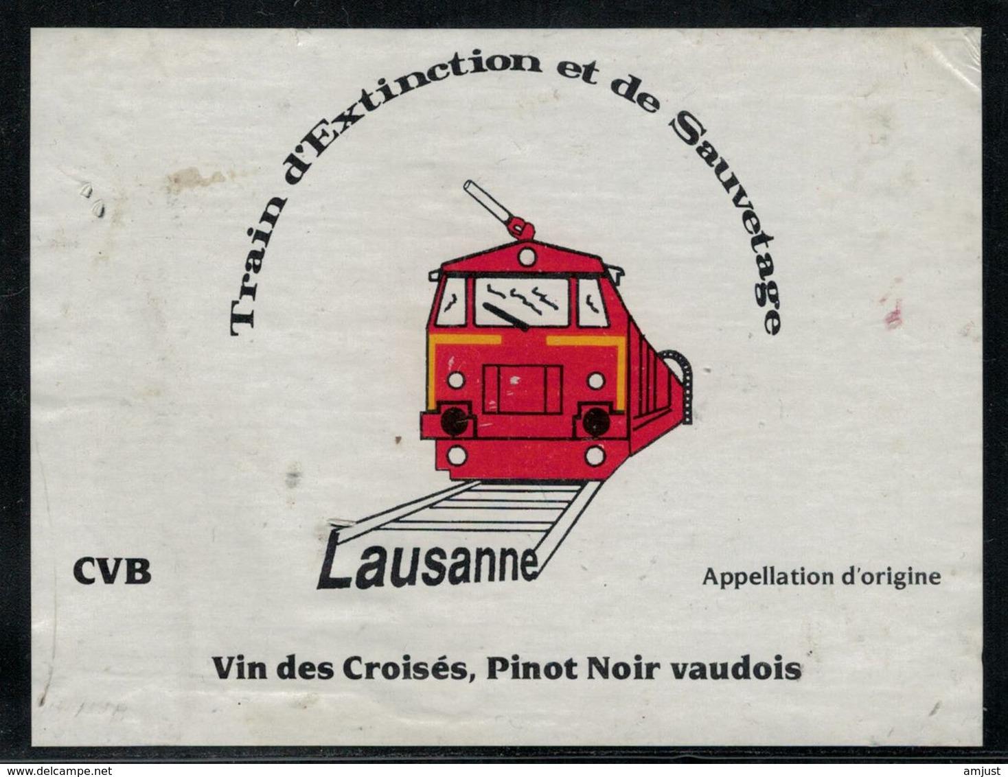 Etiquette De Vin // Pinot Noir Vaudois, Train D'Extinction Et De Sauvetage - Pompiers