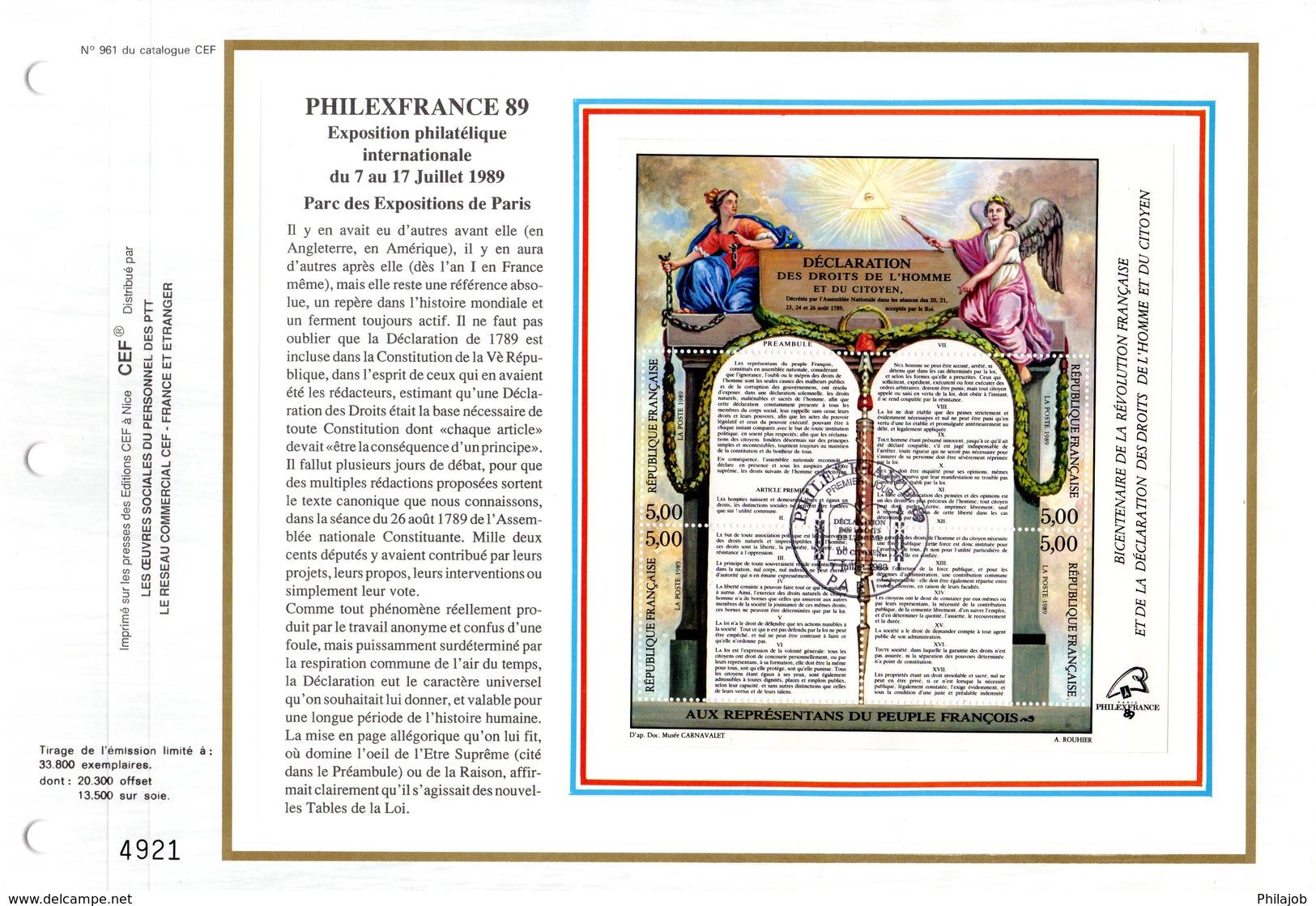 """"""" BICENTENAIRE DE LA DECLARATION DES DROITS DE L'HOMME """" Sur Feuillet CEF De 1989. N° YT BF 11. Parfait état - Franz. Revolution"""