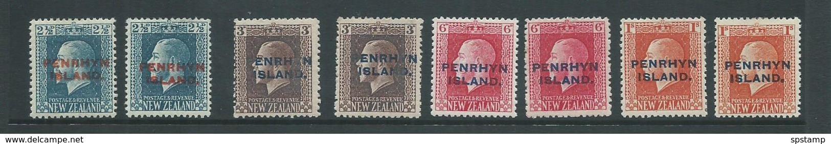 Penrhyn Island 1917 KGV Overprints Set Of 8 Including All Perfs Fine Mint - Penrhyn