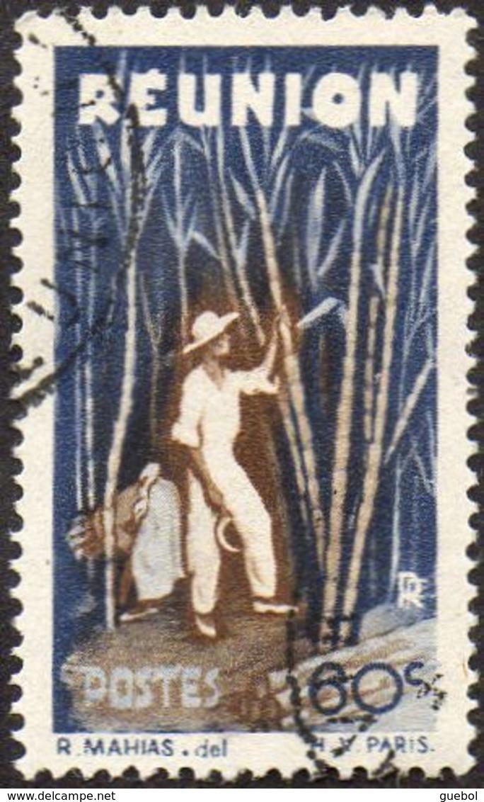 Réunion Obl. N° 266 - Détail De La Série émise En 1947 - 60c Bleu Et Brun - Oblitérés