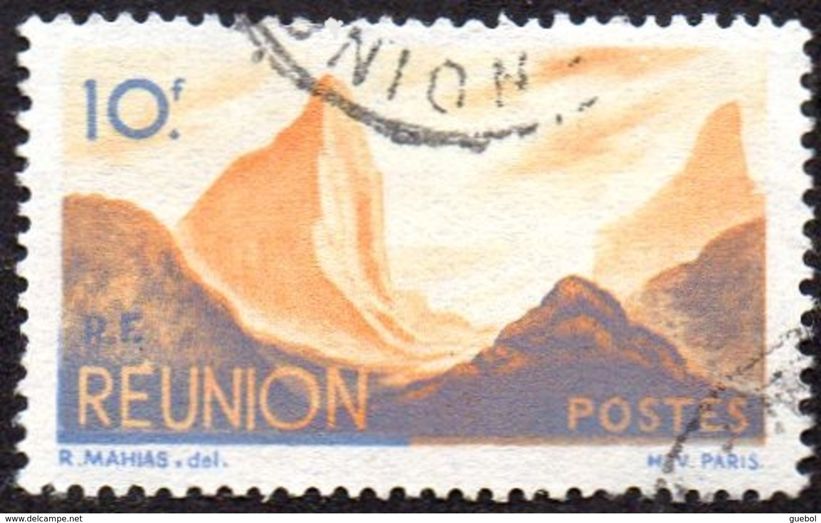 Réunion Obl. N° 277 - Détail De La Série émise En 1947 - 10f Bleu Et Orange - Oblitérés