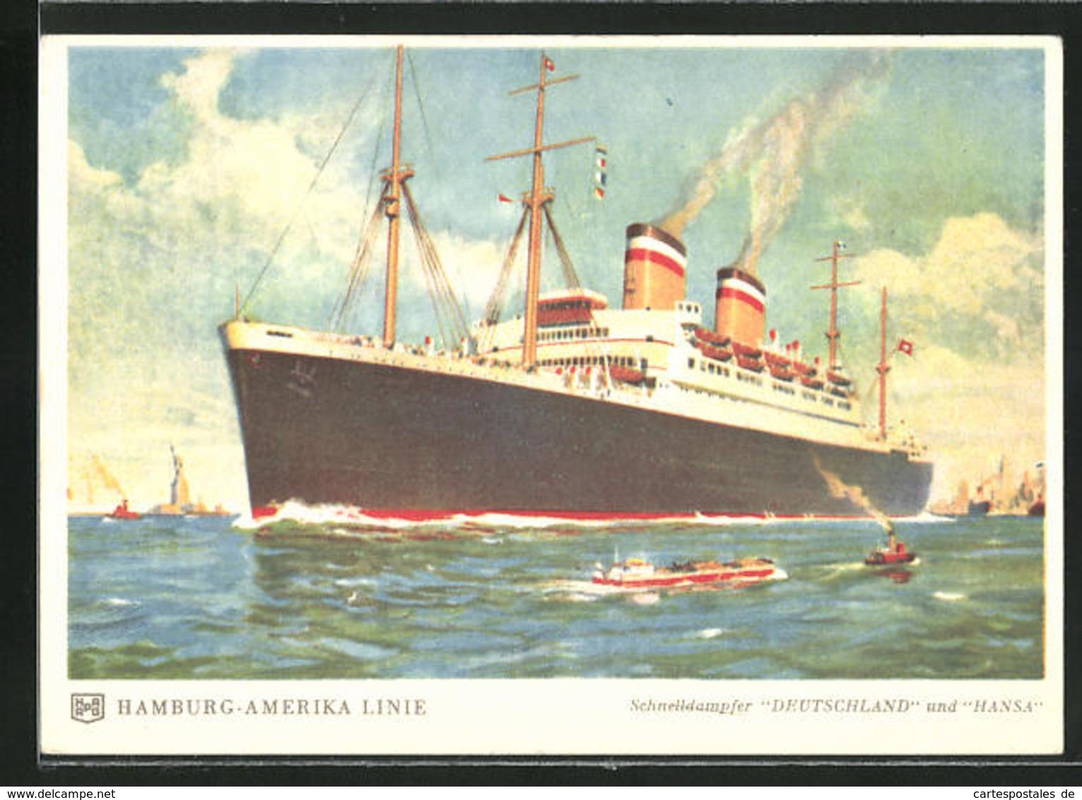 AK Passagierschiff Deutschland Verlässt New York - Piroscafi